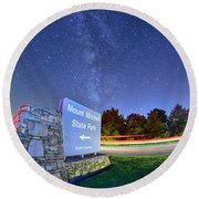 Midnight At Mount Mitchell Entrance Sign Round Beach Towel