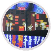 Midnight At Tha Marina Round Beach Towel