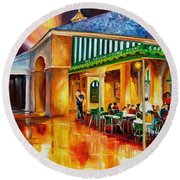 Midnight At The Cafe Du Monde Round Beach Towel