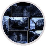 Midnight At The Prison Collage Round Beach Towel