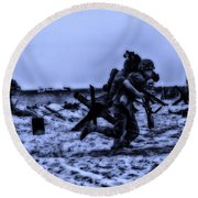 Midnight Battle Stay Close Round Beach Towel by Thomas Woolworth