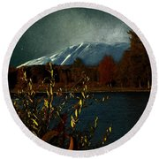 Midnight Blue In The Mountains Round Beach Towel