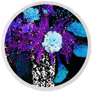 Midnight Callas And Orchids Abstract Round Beach Towel