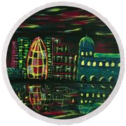 Midnight City Round Beach Towel