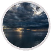Midnight Clouds Over The Water Round Beach Towel
