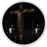 Midnight Crucifixion Round Beach Towel