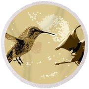 Midnight Hummingbird Round Beach Towel