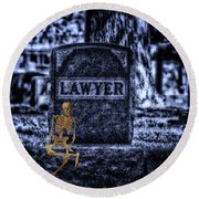 Midnight In The Graveyard With A Lawyer Round Beach Towel