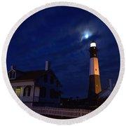 Midnight Moon Over Tybee Island Round Beach Towel
