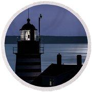 Midnight Moonlight On West Quoddy Head Lighthouse Round Beach Towel