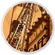 Midway Cafe Sepia Round Beach Towel