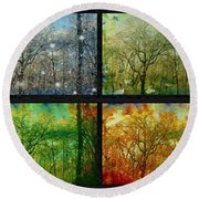 Midwest Seasons Collage Round Beach Towel