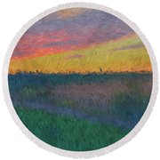 Midwest Sunset Round Beach Towel