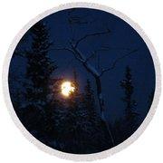 Midwinter Moonrise Round Beach Towel