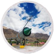 Mig-21 Fighter Plane Of Indian Air Force Used In Kargil War Displayed As Victorious Memory Round Beach Towel