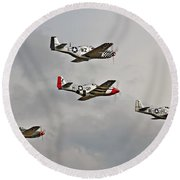 Mighty 8th P51 Mustangs  Round Beach Towel by Pat Speirs