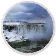 Mighty Cold Niagara Round Beach Towel