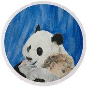 Mika And Panda Round Beach Towel