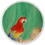 Mika And Parrot Round Beach Towel