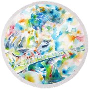 Mike Bloomfield Playing The Guitar - Watercolor Portrait Round Beach Towel