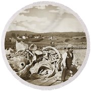 Mike Noon Monterey Whaler On Montereys Wharf  Circa 1890 Round Beach Towel