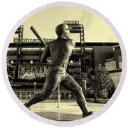 Mike Schmidt At Bat Round Beach Towel by Bill Cannon