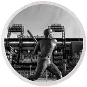 Mike Schmidt Statue In Black And White Round Beach Towel by Bill Cannon