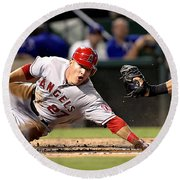 Mike Trout Round Beach Towel