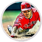 Mike Trout Painting Round Beach Towel