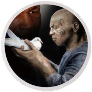 Mike Tyson And Pigeon II Round Beach Towel