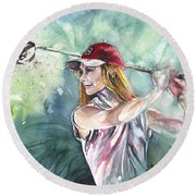 Miki Self Portrait Golfing Round Beach Towel