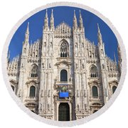 Milan Cathedral  Round Beach Towel