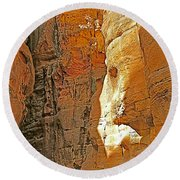 Mile-long Canyon Leads Through 600 Foot Deep Gorge To The Treasury In Petra-jordan Round Beach Towel