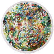 Miles Davis Watercolor Portrait.1 Round Beach Towel