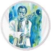 Miles Davis Watercolor Portrait.3 Round Beach Towel