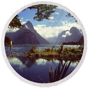 Milford Sound In New Zealand's Fiordland National Park Round Beach Towel