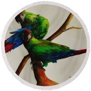 Military Macaws Round Beach Towel