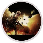 Military Our Heroes Round Beach Towel