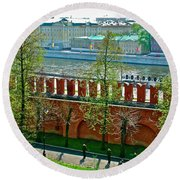Military Parade Practice Inside Kremlin Walls In Moscow-russia Round Beach Towel