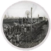 Military Railway, C1863 Round Beach Towel
