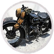 Military Style Bmw Motorcycle Round Beach Towel