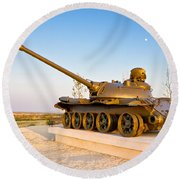 Military Tank Outdoor Installation View Round Beach Towel