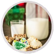 Milk And Cookies Round Beach Towel