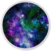 Milky Way Abstract Round Beach Towel