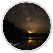 Milky Way At Crafnant Round Beach Towel