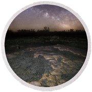 Milky Way On The Rock Round Beach Towel