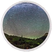 Milky Way Over Red Rock Canyon Round Beach Towel