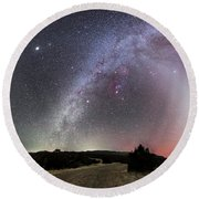 Milky Way, Zodiacal Light And Other Round Beach Towel