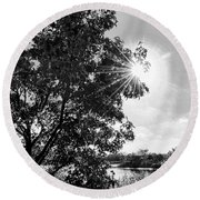 Mill Creek Marsh Afternoon Sun Round Beach Towel