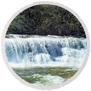 Mill Shoals Waterfall During Flood Stage Round Beach Towel